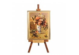 "Tablou pe sevalet - Renoir ""Roses and Jasmin "" pe foita de aur 23Kt."
