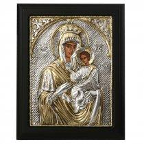 Icoana cu Maica Domnului si Pruncul lucrata in argint