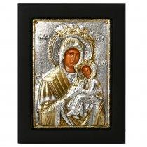 Icoana lucrata in argint cu Maica Domnului Alintatoare