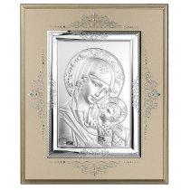 Icoana pe foita de argint cu Maica Domnului - 10 x 8.5 cm