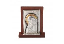 Iconita argintata Fecioara Maria cu Pruncul 5x5 cm