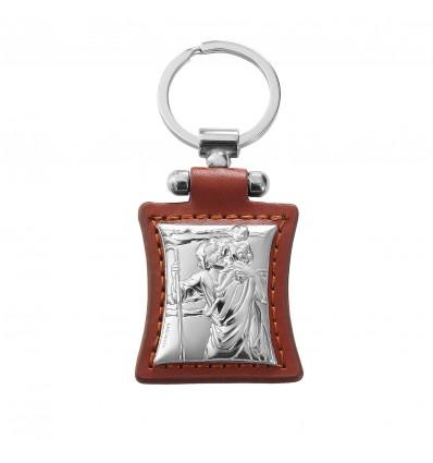 """Iconita cu Sf Cristofor """"protectorul soferilor"""" -Breloc din piele cu ornament argintat"""