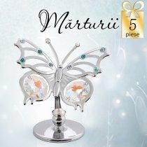 5 Fluturasi cu cristale Swarovski Aurora Borealis - oferta marturii de botez