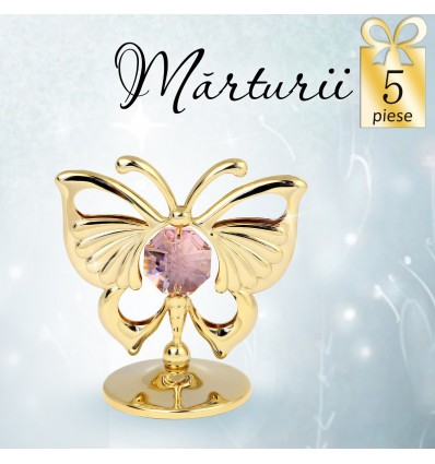 Fluturas auriu cu cristale Swarovski roz- oferta de 5 marturii