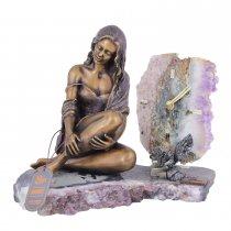 Statueta din bronz si ceas pe suport din ametist