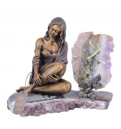 Statueta din bronz si ceas pe suport din ametist Colectia Ebano