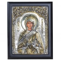 Sf. Parascheva - Icoana lucrata in argint 925 si aur 24K