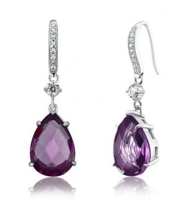 Cercei Purple Pear Cut Simulated Sapphire Argint 925