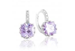 Cercei Lilac Purple Sapphire cu cristale cubic zirconia