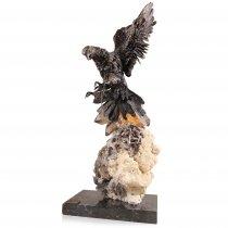 Falcon Casasola  - sculptura in bronz pe aranjament din cuart si agat