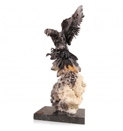 Falcon Casasola  - statueta vultur in bronz pe aranjament din cuart si agat Colectia Ebano