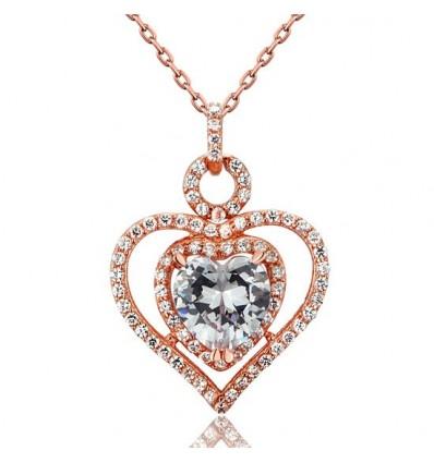 Colier din argint 925 Rose Gold Heart
