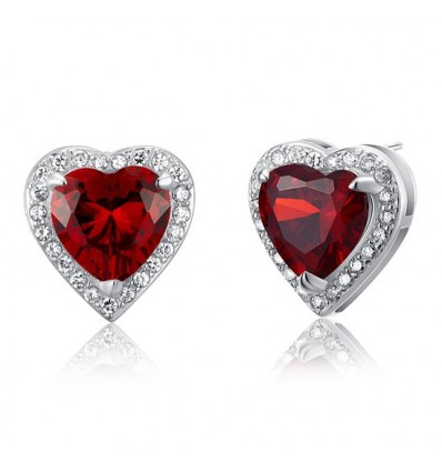 Cercei Simulated Red Ruby Heart Argint 925