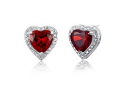 Cercei Simulated Red Ruby Heart Argint 925