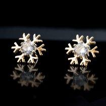 Cercei cu cristale austriece placati cu aur  roz- Fulg de nea