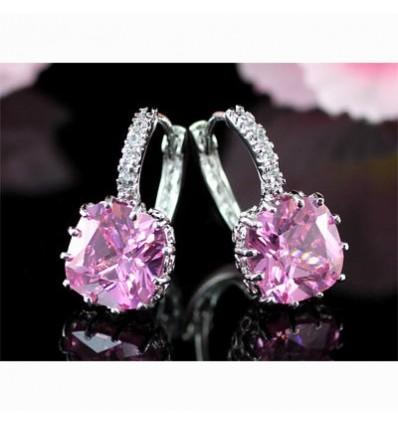 Cercei placati cu aur alb Pink Sapphire made with Swarovski Elements