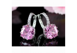 Cercei placati cu aur alb Pink Sapphire made with Swarovski Elements