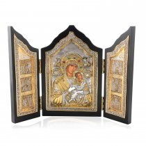 Triptic Fecioara Maria si Pruncul lucrat in argint 950 si aur 24Kt