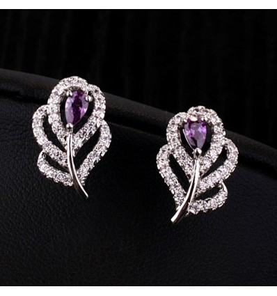 Cercei cu cristale Swarovski Elements - Purple Flowers
