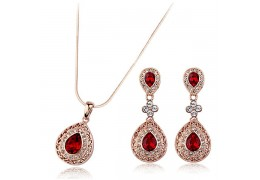 Set de colier si cercei cu cristale cubic zirconia - Glamour Ruby