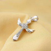 """Pandantiv cruciulita din argint cu cristale cubic zirconia - """"Angel Wings"""""""