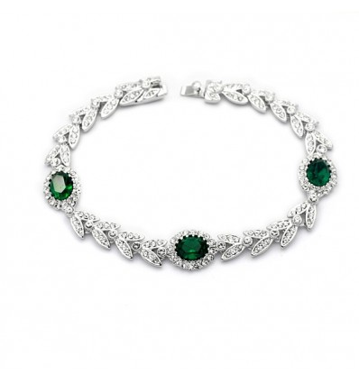 "Bratara cu cristale Swarovski Elements ""Green Leaf"""