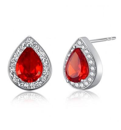 """Cercei din argint 925 cu cristale """" Pear Cut Simulated Red Ruby"""""""