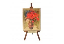 """Vaza cu margarete si maci"" -  Vincent Van Gogh - Litografie pe foita de aur"