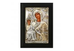 Icoana lucrata in argint cu Maica Domnului si Pruncul