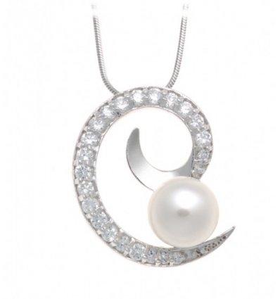 Colier si pandant din argint cu perle de cultura si pietre semipretioase