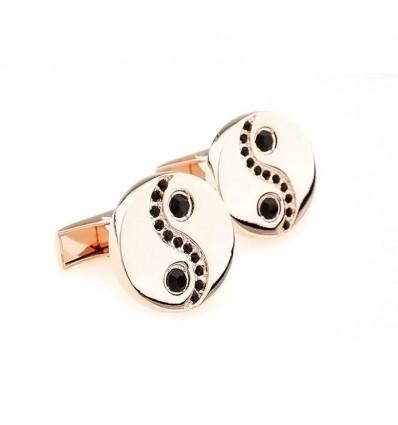 Butoni  placati cu aur Yin&Yang