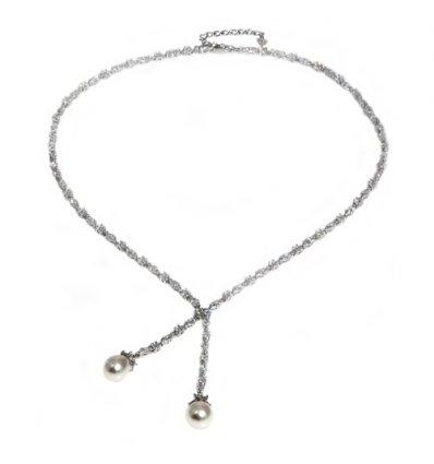 Colier din argint cu doua perle naturale