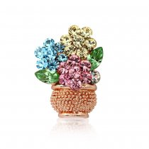 "Brosa - pin cu cristale Swarovski Elements - ""Flowers Pot"""