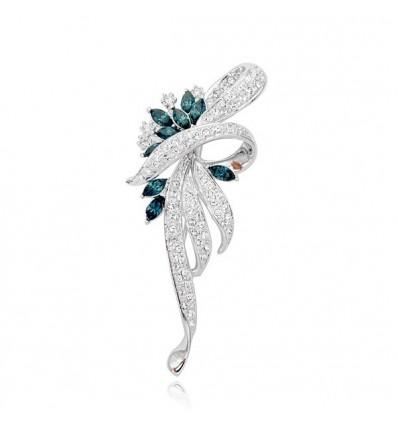 Fundita argintie - brosa decorata cu cristale austriece ultramarin