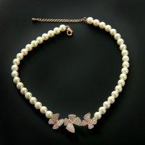 "Colier cu perle si cristale "" Golden Butterfly"""