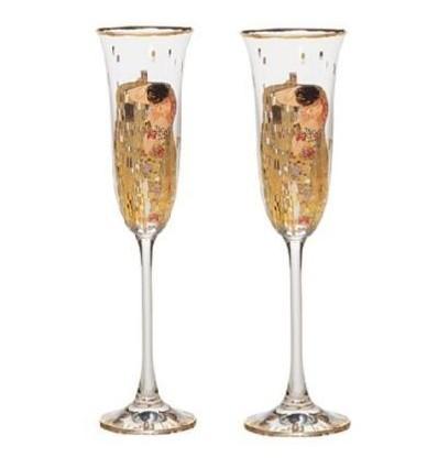 """Set de 2 pahare de sampanie """"Sarutul"""" Gustav Klimt - Goebel"""