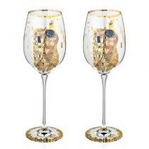 """Set de 2 pahare de vin """"Sarutul"""" Gustav Klimt - Goebel"""