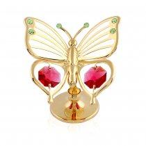 Fluturas placat cu aur si Swarovski Crystals