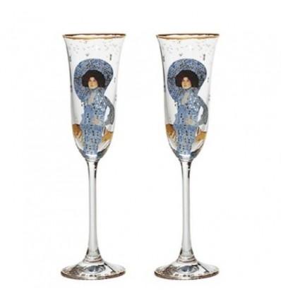 "Set de 2 pahare de sampanie ""Emilie Floge"" Gustav Klimt - Goebel"