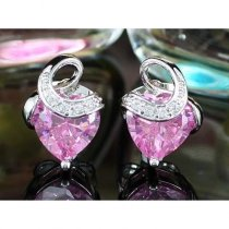 "Cercei made with Swarovski Elements ""Heart Pink Sapphire"""