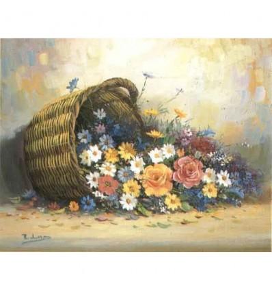 """Tablou pe sevalet """"Cos cu flori de primavara"""""""