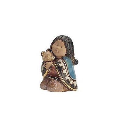 Fetita cu ursulet - figurina din ceramica