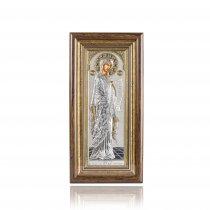 Icoana din lemn pe foita de argint - Fecioara Maria (39 x 19 cm)