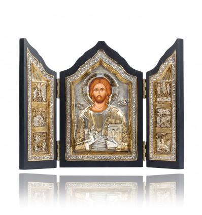 Triptic cu Iisus lucrat in argint 950 si aur 24Kt