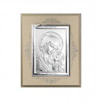 Icoana pe foita de argint cu Maica Domnului - 16 x 14 cm