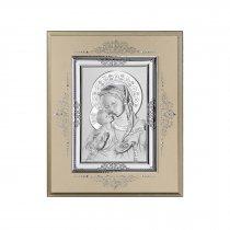 Icoana pe foita de argint cu Maica Domnului - 24 x 19 cm