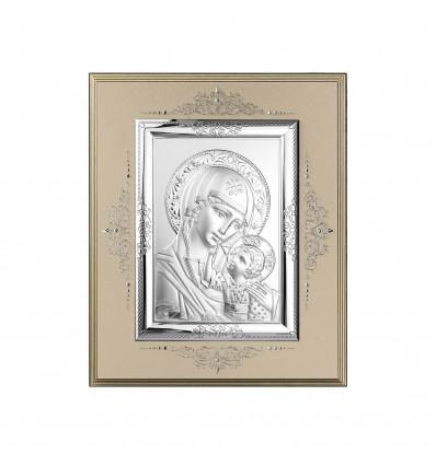 Icoana pe foita de argint cu Maica Domnului - 24x19cm