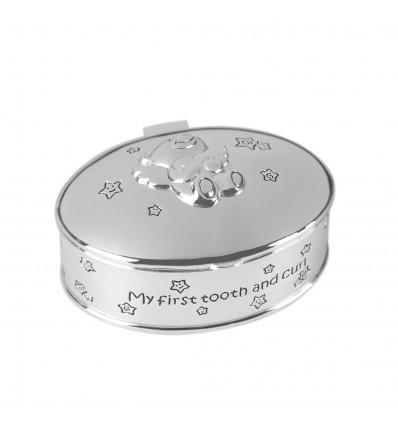 Casetuta argintata prima bucla si primul dintisor - cadou pentru botez - - colectia Twinkle