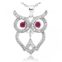 Colier din argint  Wise Diamond Owl