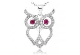 Colier din argint  Wise Diamond Owl